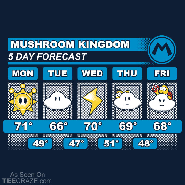 Mushroom Kingdom 5 Day Forecast T-Shirt