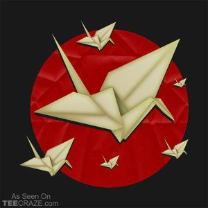 Origami Cranes Over Japan T-Shirt