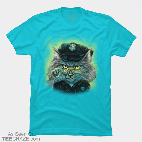 Mouse Police Never Sleeps Cat Officer T-Shirt