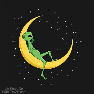 Alien Chilling On Crescent Moon T-Shirt