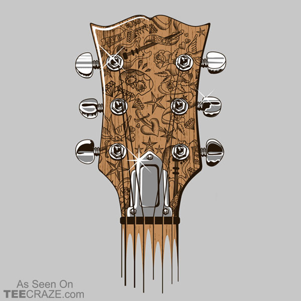 Tattooed Guitar Head T-Shirt