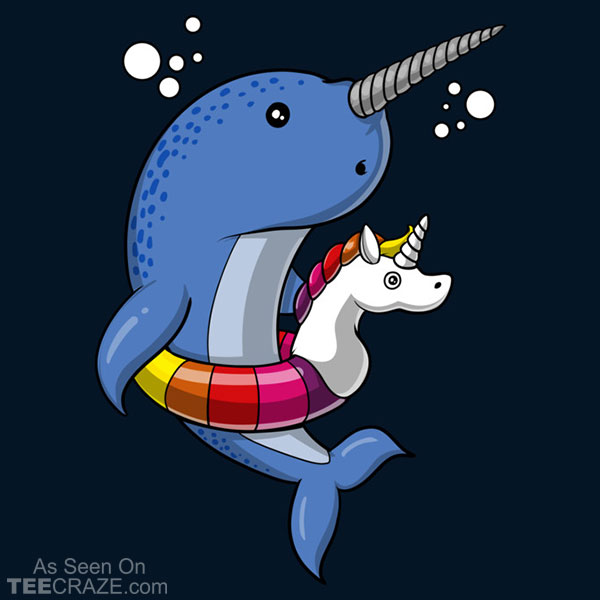 Narwhal Fish Riding Unicorn Float Pool Party T-Shirt