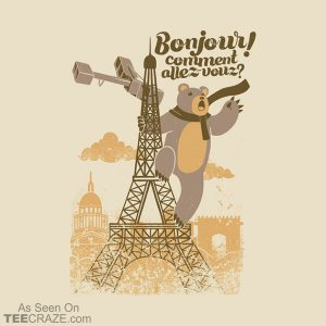 Paris King Kong Bear Eiffel Tower T-Shirt