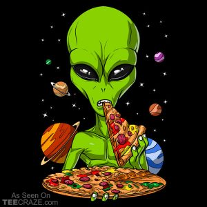 Space Alien Eating Pizza T-Shirt