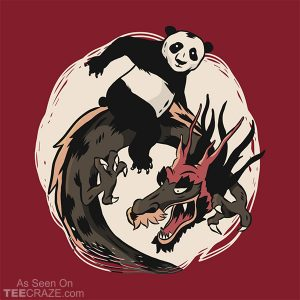 Panda Riding A Dragon T-Shirt