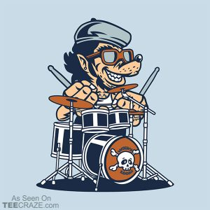 Wolf On Drums T-Shirt