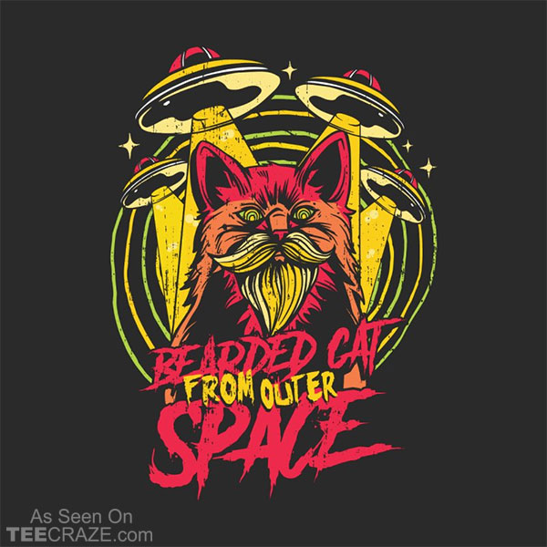 Bearded Cat From Outer Space T-Shirt