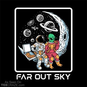 Astronaut And Alien Pizza Party On The Moon T-Shirt