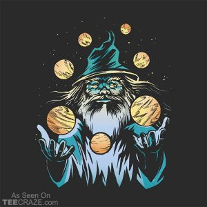 Wizard Juggling Planets In Space T-Shirt